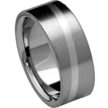 COI Titanium Diagonal Line Pipe Cut Flat Ring - JT030