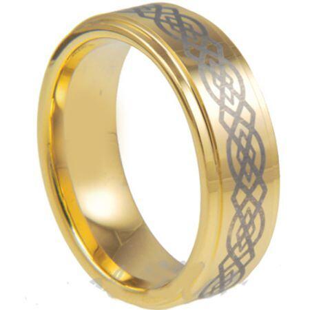 COI Gold Tone Titanium Celtic Step Edges Ring - JT1139