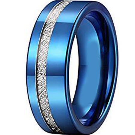 COI Blue Titanium Offset Meteorite Pipe Cut Flat Ring - JT2380AA