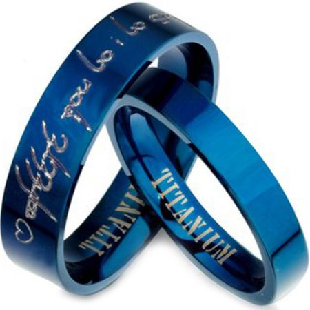 COI Blue Titanium Pipe Cut Flat Ring With Custom Engraving-3204