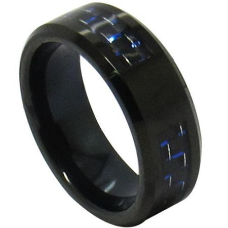 COI Black Titanium Beveled Edges Ring With Carbon Fiber-JT3516