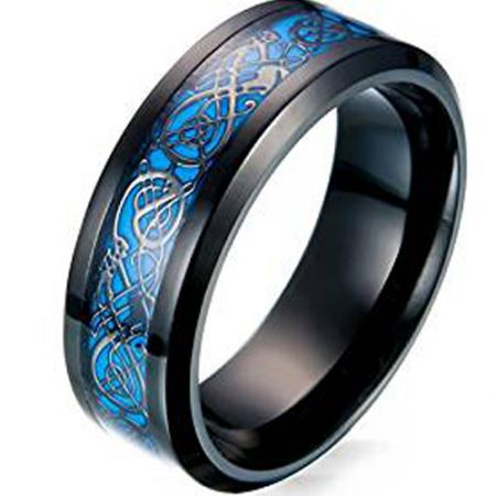 COI Black Titanium Dragon Beveled Edges Ring - JT3551AA