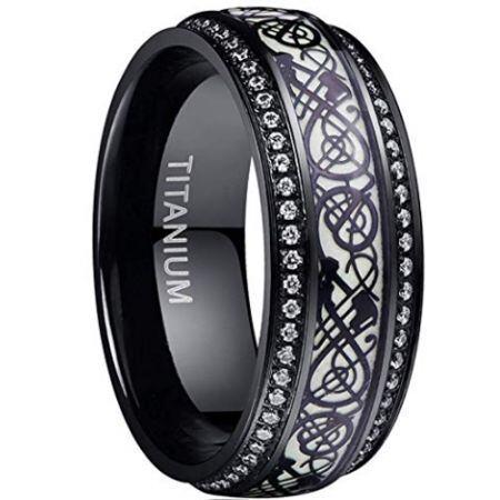 COI Black Titanium Dragon Ring With Cubic Zirconia-JT5096