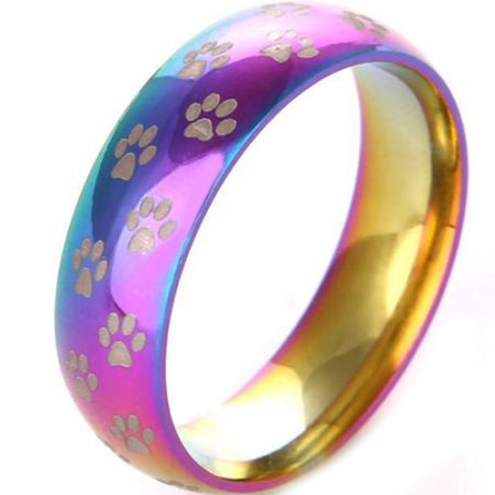 COI Titanium Rainbow Color Ring With Paws Track -JT5107