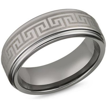 *COI Titanium Greek Key Step Edges Ring-JT5143