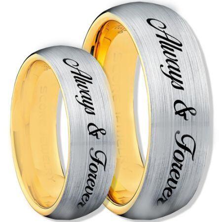 COI Titanium Gold Tone Silver Always & Forever Ring-1115