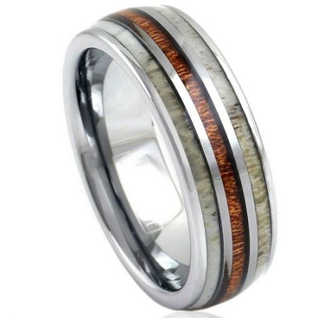 *COI Titanium Deer Antler and Wood Dome Court Ring-1146