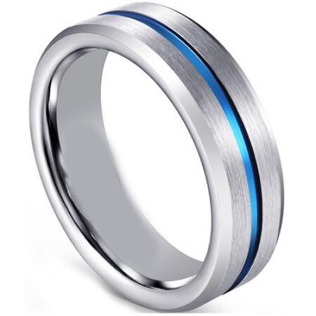 COI Titanium Blue Silver Center Line Beveled Edges Ring-001