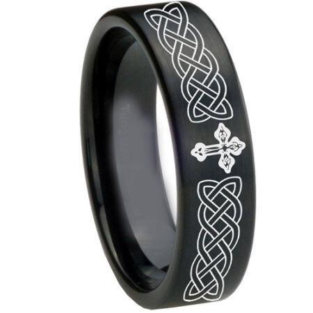 COI Black Titanium Cross Celtic Pipe Cut Flat Ring - 1661
