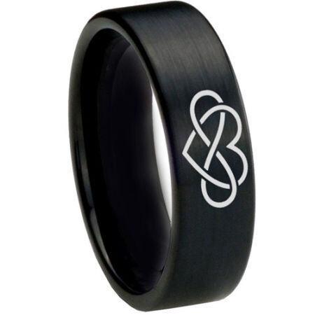 **COI Black Titanium Infinity Heart Pipe Cut Flat Ring - 1821