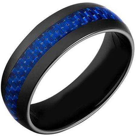 COI Black Titanium Dome Court Ring With Carbon Fiber-JT2742