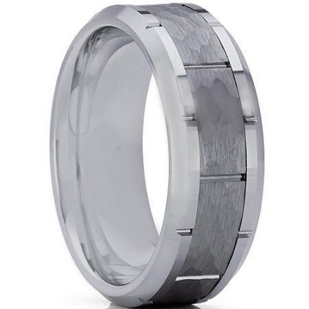 *COI Titanium Hammered Brick Pattern Ring-3361