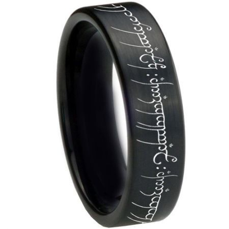 *COI Black Titanium Lord of The Ring Pipe Cut Ring-3367