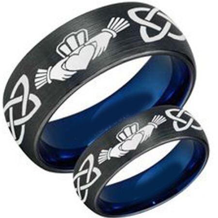 COI Titanium Black Blue Mo Anam Cara Celtic Ring - 3447