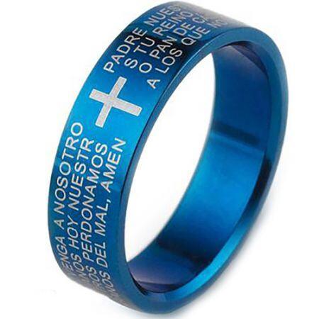 COI Blue Titanium Cross Scripture Pipe Cut Flat Ring-3573