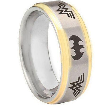 *COI Titanium Batman & Wonder Woman Step Edges Ring-JT3574