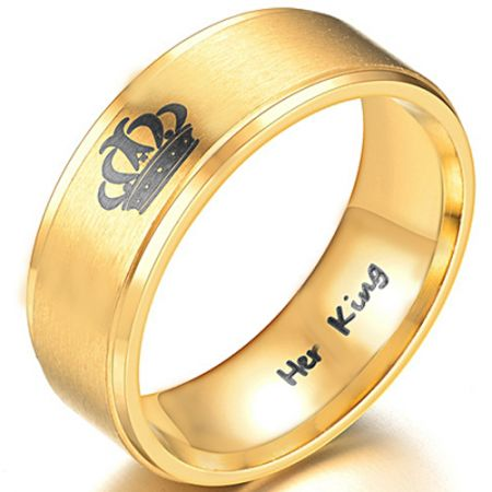 COI Gold Tone Titanium King Crown Step Edges Ring - 3988