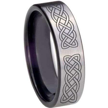 COI Titanium Black Silver Celtic Pipe Cut Flat Ring - 4015