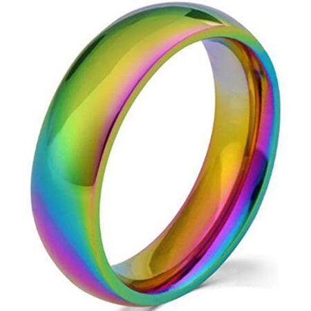 COI Titanium Rainbow Pride Dome Court Ring - JT3391