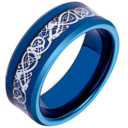 COI Blue Titanium Silver Dragon Beveled Edges Ring - JT3392