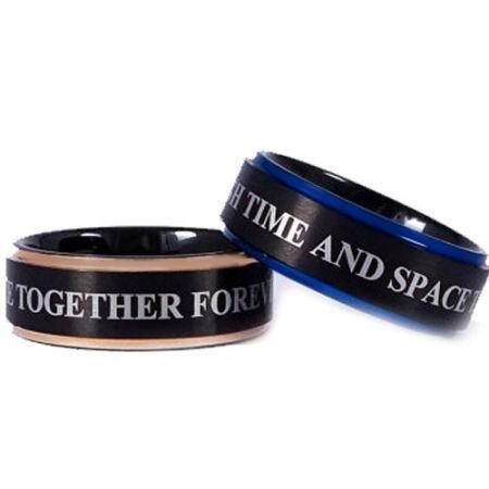 COI Titanium Black Rose/Blue Ring With Custom Engraving-JT5112