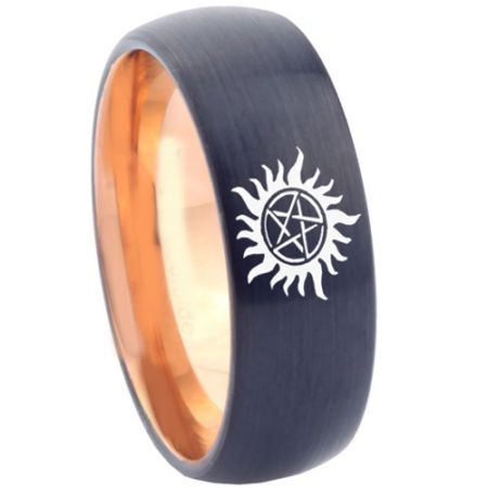 COI Titanium Black Rose Supernatural Dome Court Ring - 4562