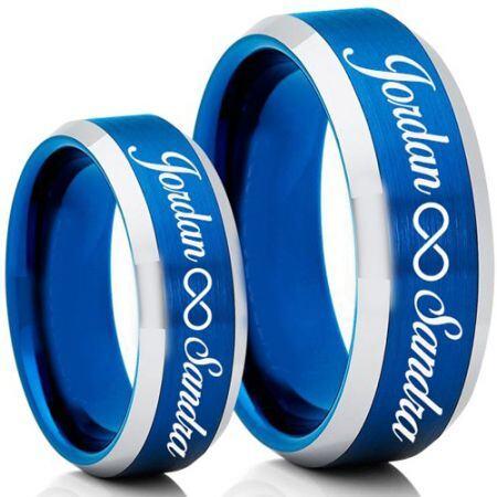 COI Titanium Blue Silver Infinity Custom Names Engraving Ring-5007