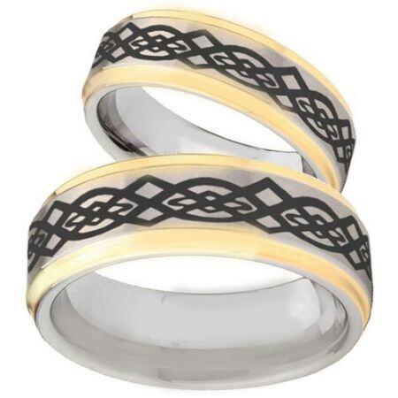 COI Titanium Gold Tone Silver Celtic Step Edges Ring-JT5098