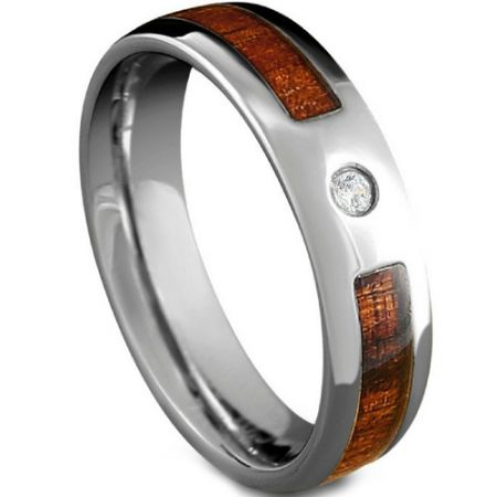 COI Titanium Wood Ring With Cubic Zirconia-5185