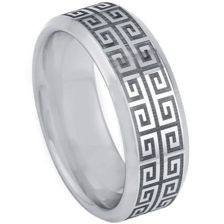 COI Titanium Greek Key Beveled Edges Ring-5200