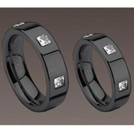 COI Black Titanium Ring With CZ- 983 (US5)