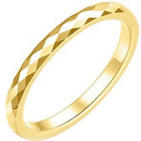 COI Gold Tone Titanium Faceted Wedding Band Ring - JT3847