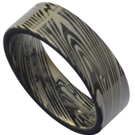 COI Black Titanium Damascus Pipe Cut Flat Ring - JT3832